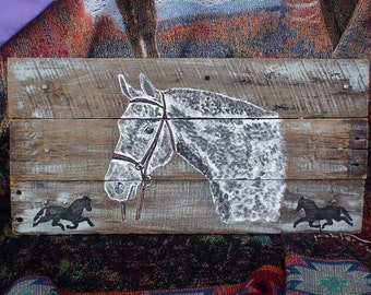 Esquestrian Wall Decor - Hand Painted Horse Wall Hanging on Weathered Wood - Horse Sign  21 X 10.5 - Horse Silhouette - Dressage - Horses