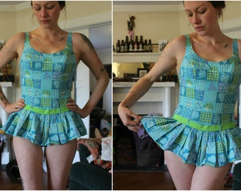 3370bb2e24 1960s Swimsuit 1950s Bathing Suit Vintage Playsuit Blue Skirted Elastic  Patchwork Retro Pinup Size Small Medium Stretchy Belted Mini Skirt
