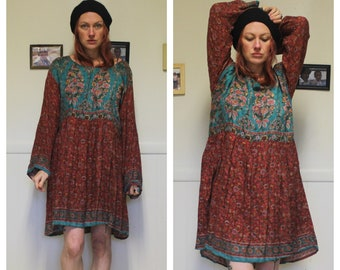 b02e43fe6dd Indian Boho Dress 1970s Hippie Goddess Floral Summer Silk Long Sleeve Sexy  Festival Bohemian Airy Soft One Plus Open Size Small Med Large