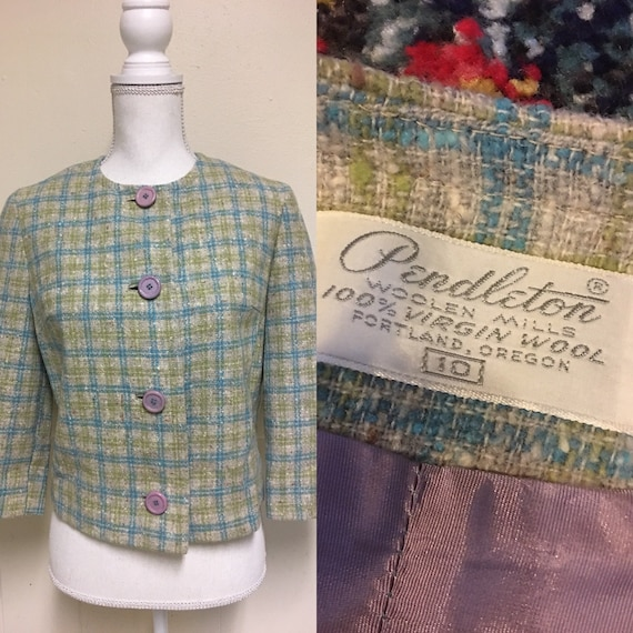 1960s Pendleton Jacket Women's Wool 1950s 60s Retr