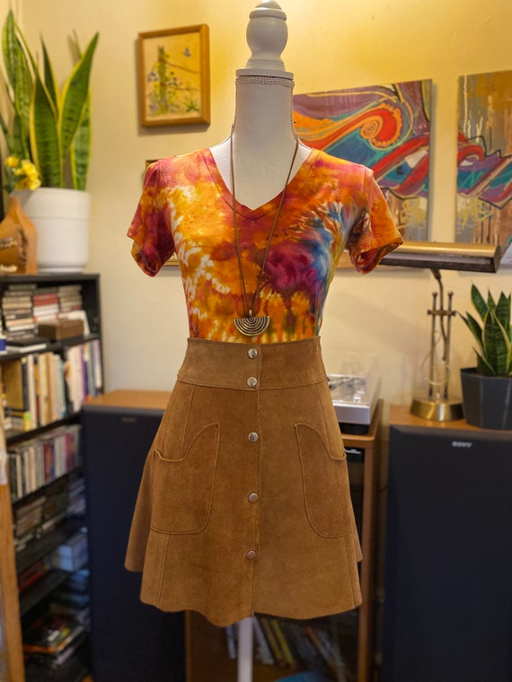 1970's Leather Skirt Suede Snap Skirt Vintage Leat