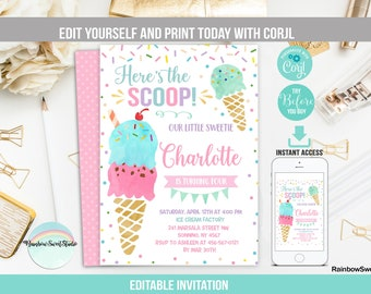photograph regarding Ice Cream Party Invitations Printable Free named Ice product invitation Etsy