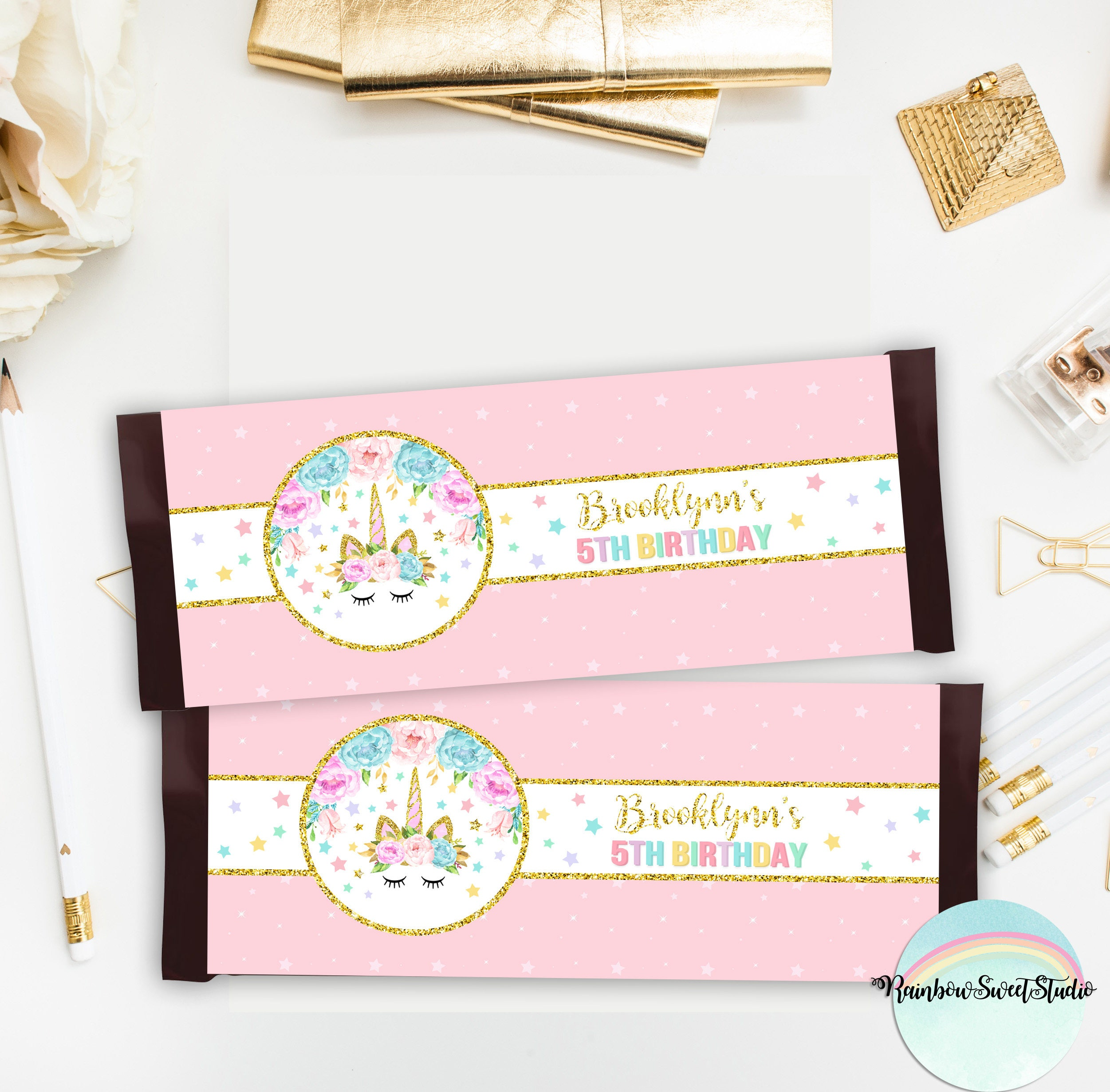 Unicorn Candy Bar Wrappers Unicorn Labels Printable Magical