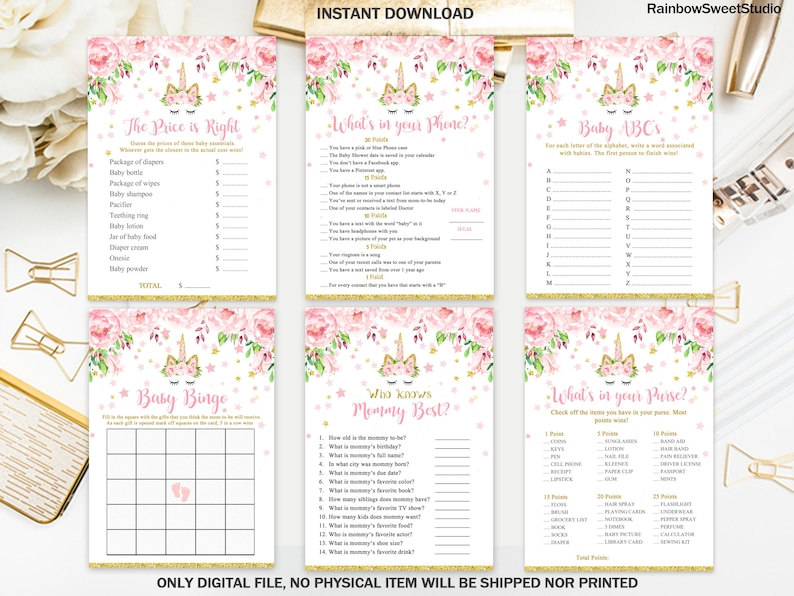 d274b51703903 Unicorn Baby Shower Games Package, Unicorn Pink and Gold Games Printable,  Unicorn X6 Games, Unicorn Eyelashes,Digital File, INSTANT DOWNLOAD