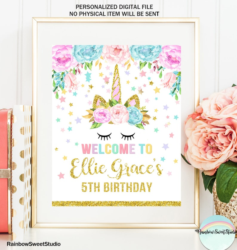 Unicorn Welcome Sign Unicorn Birthday Party Magical Unicorn image 0