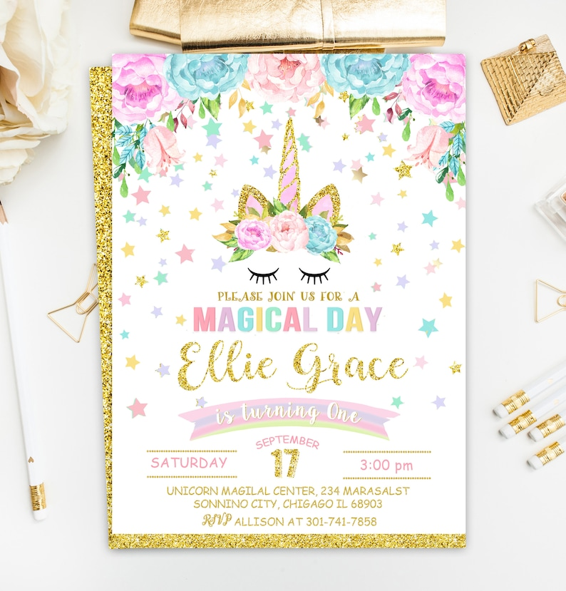 Unicorn Invitation Birthday Rainbow