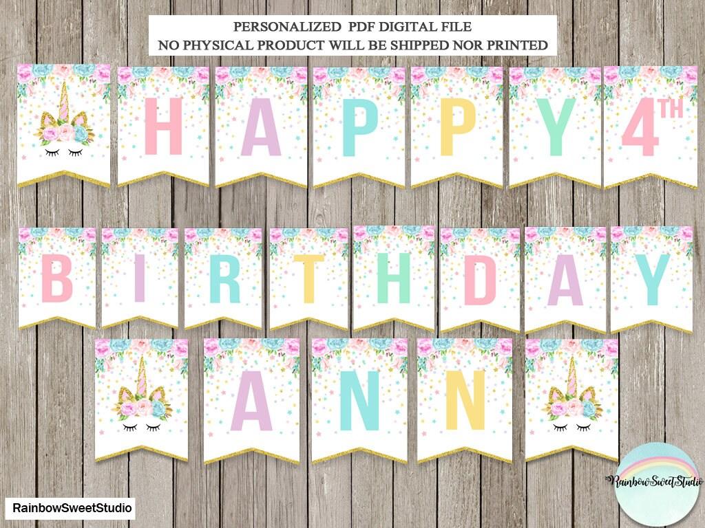 Unicorn Birthday Banner: Unicorn Banner Unicorn Happy Birthday Banner Magical