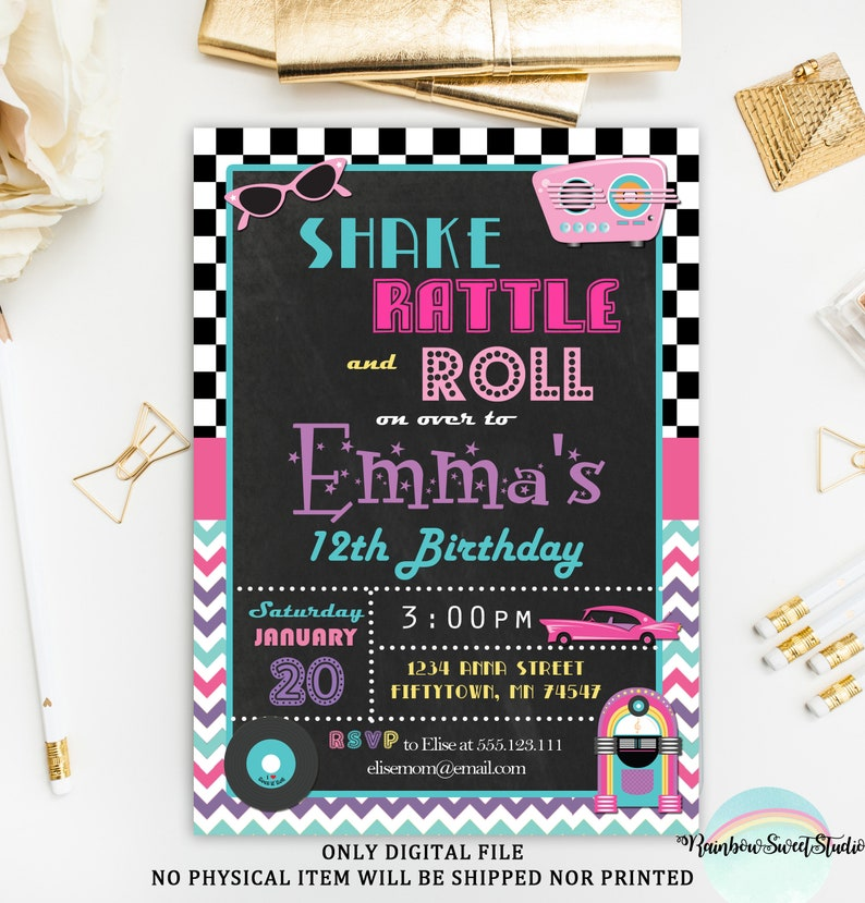 50s Invitation Printable Fifties Birthday Rock And Roll Chalkboard Theme Party