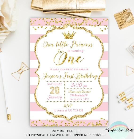 Invitación De La Princesa Primera Invitación Del Cumpleaños De La Princesa Rosa Y Oro Invitación Del Cumpleaños Imprimible Invitación De La Pequeña