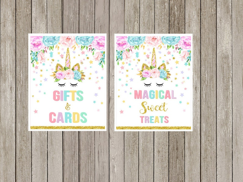 Unicorn Table Signs Package Unicorn X6 Signs Printable Unicorn Eyelashes Birthday Party Dessert Table Unicorn Baby Shower INSTANT DOWNLOAD