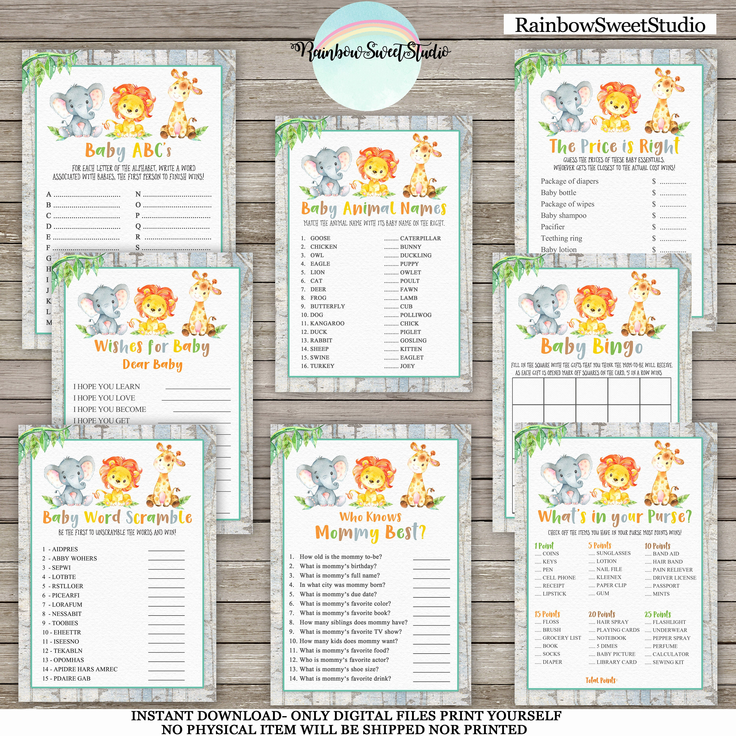 Jungle Baby Shower Games Package,Safari Baby Shower X8 Games  Printable,Jungle Baby Shower,Jungle Animals Games,Digital File,INSTANT  DOWNLOAD