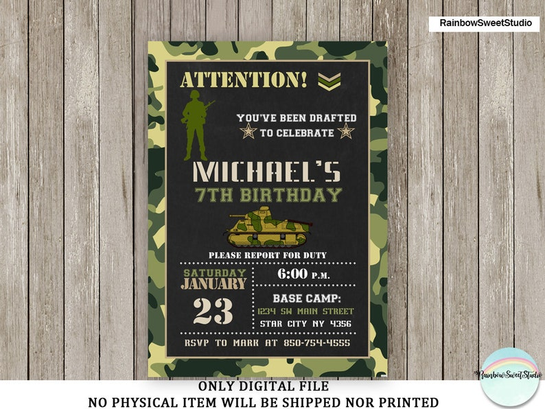 Camo Invitation Army Birthday Camouflage Printable Party Digital File