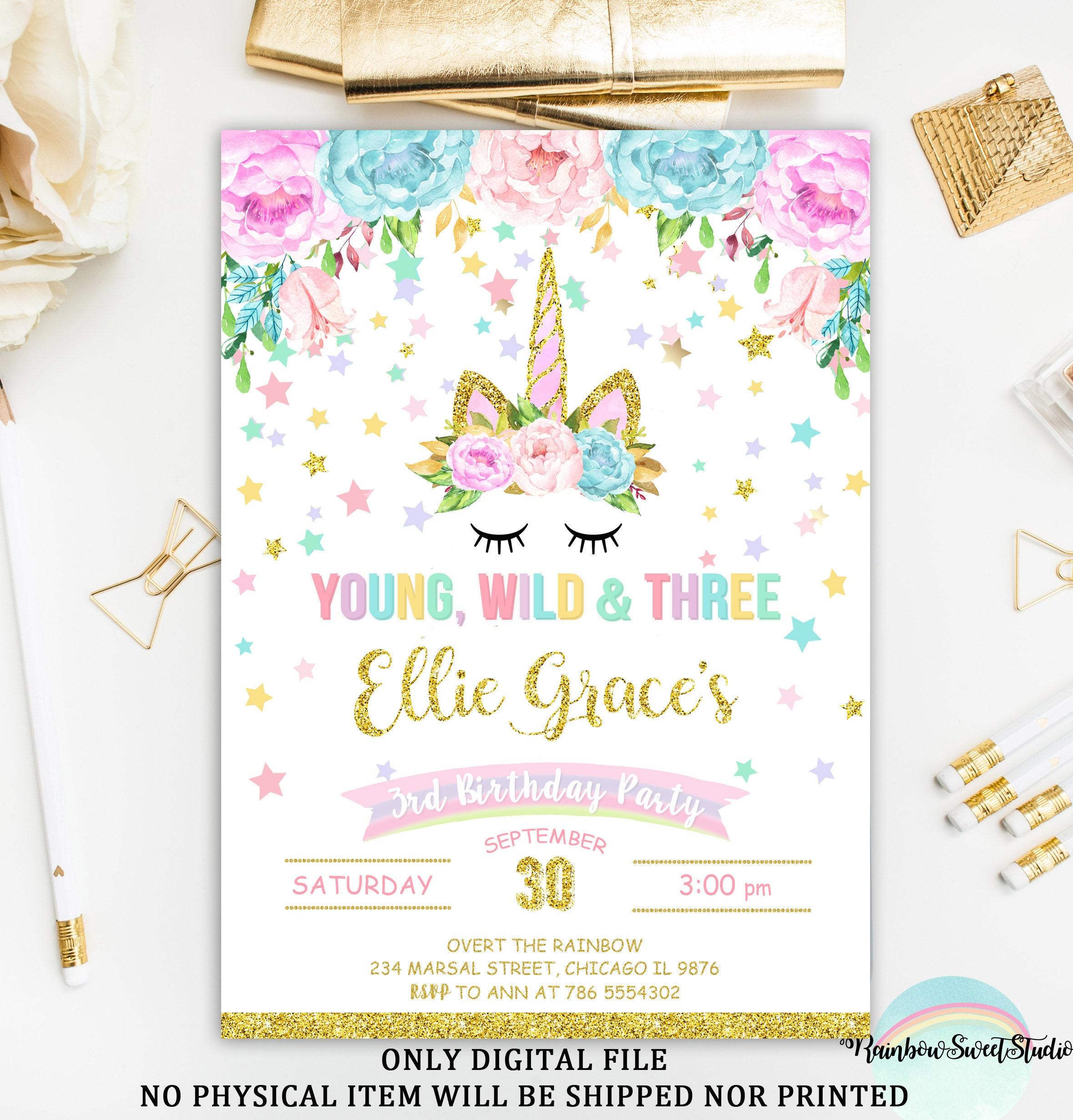 Unicorn Young Wild And Three Invitation Birthday