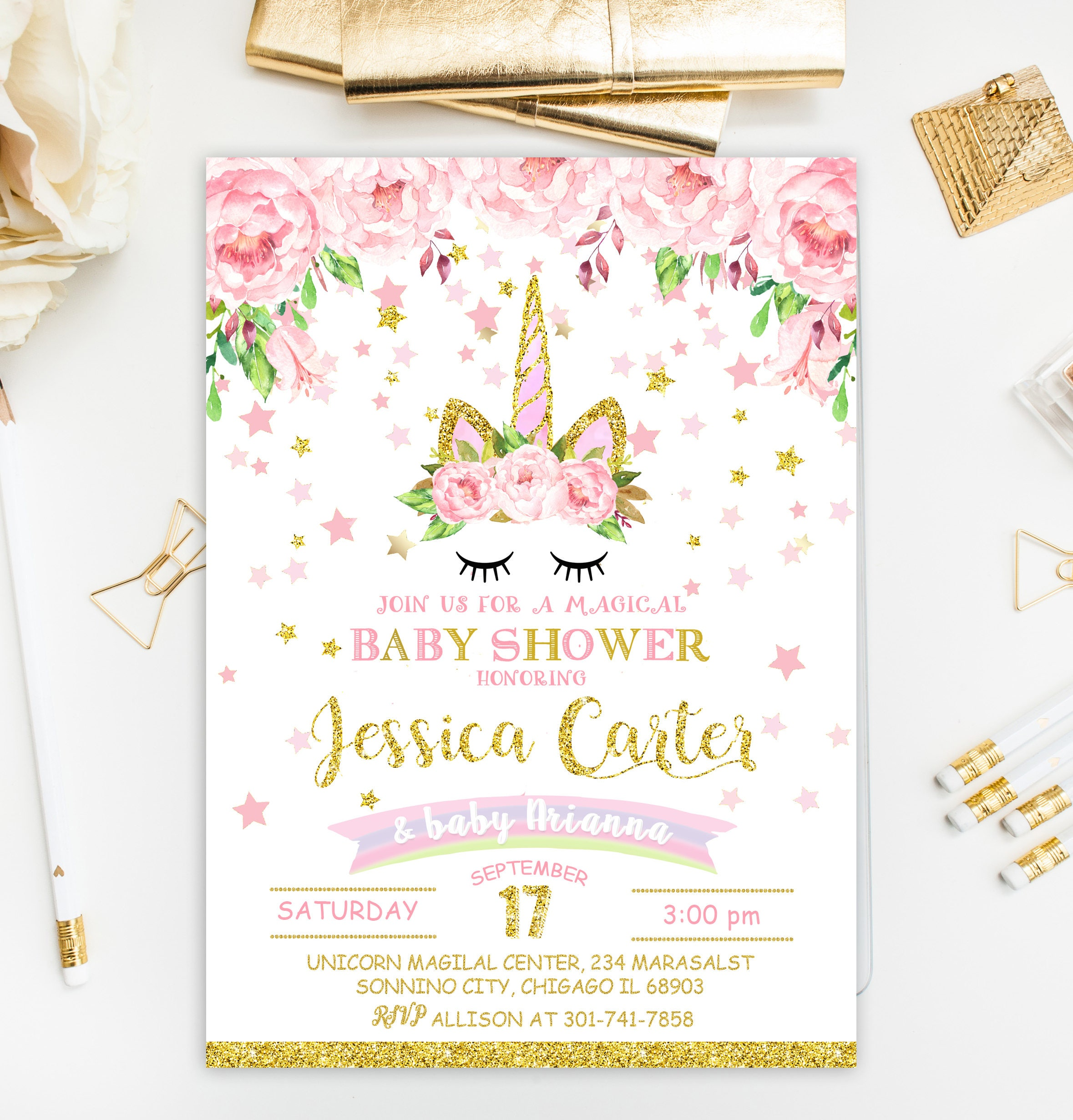 Unicorn Baby Shower Invitation Pink And Gold Baby Shower Etsy
