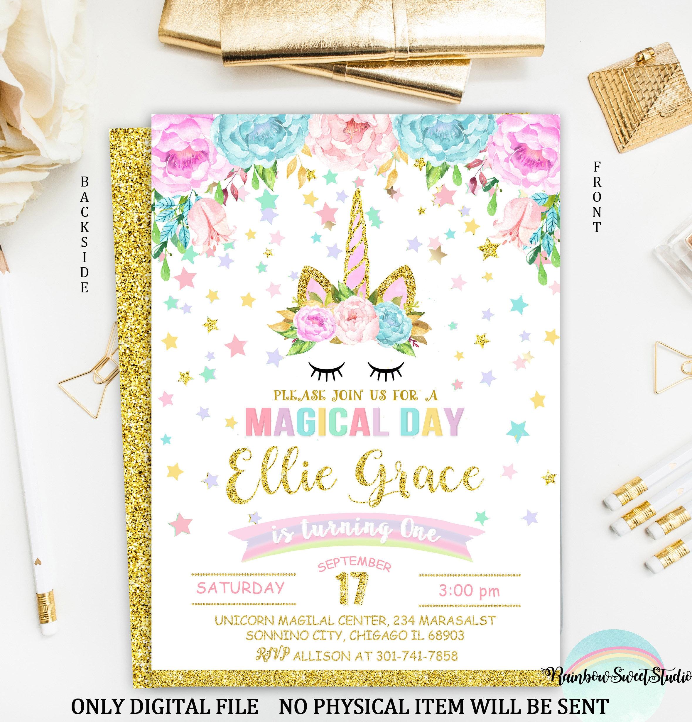 Unicorn Birthday Invitation Unicorn Invitation Printable | Etsy