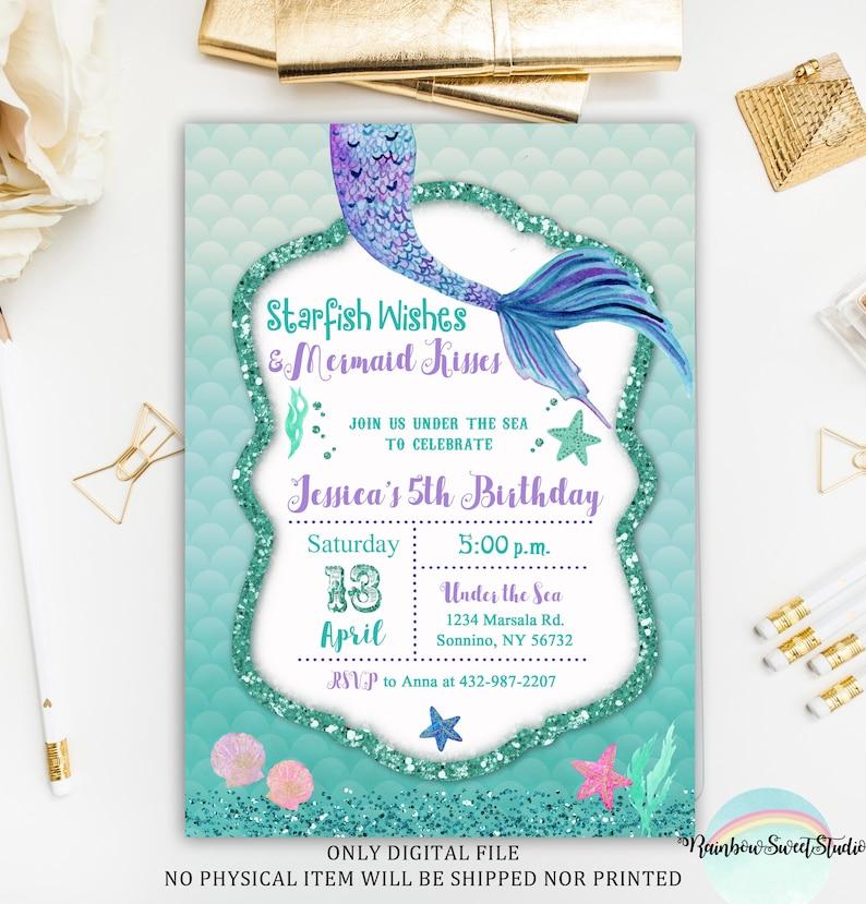 Mermaid Birthday Invitation Under The Sea
