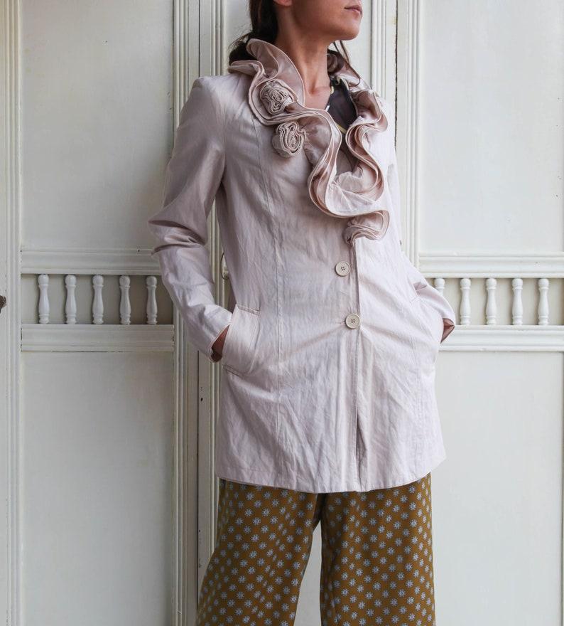 Vintage blush pink cotton boho chic dress coat.size s