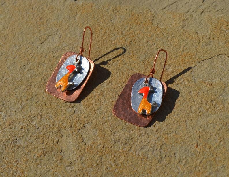 Handmade hammered vintage copperaluminum giraffe charm beads earrings.