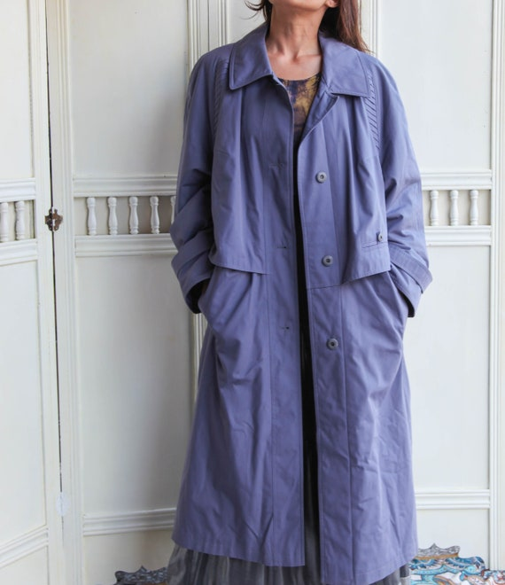 Vintage light purple over sized mid calf trench co