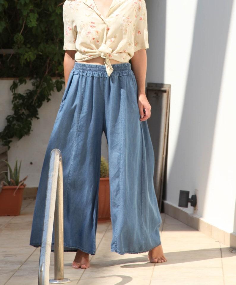 Dead-stock vintage boho denim tencel wide leg pants.one size