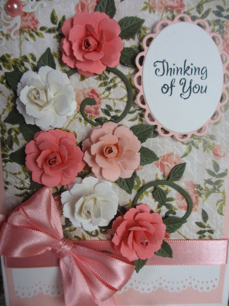 Handmade embellished peach and ivory roses thinking of you card