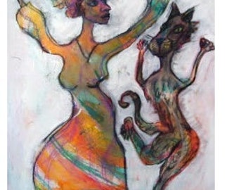 Cat Painting by Jeneieve Catnip Wine