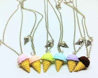 Ice Cream Necklace | Polymer Food Jewelry |  Pastel Dessert |  Summer Beach  | Tiny Food Kawaii Jewelry