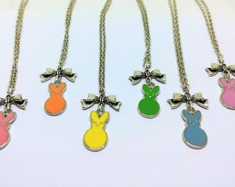 Marshmallow Easter Bunny Peep Pastel Necklace  |  Great Basket Filler and Easter Present