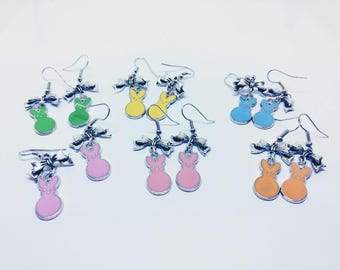Marshmallow Easter Bunny Peep Pastel Earrings  |  Great Basket Filler and Easter Present