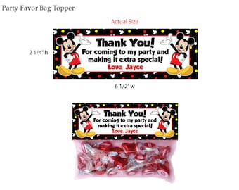 Mickey Mouse Party Favor Bag Topper
