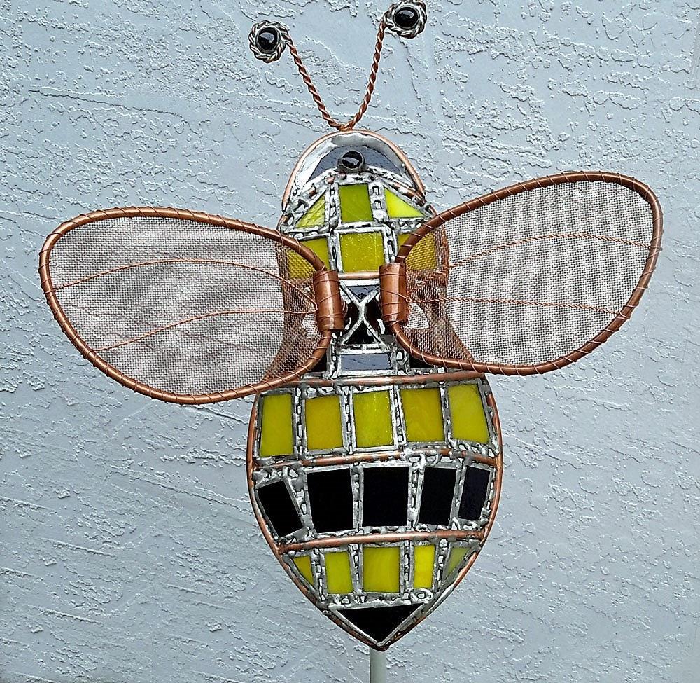 Bumble Bee Garden Art Sculpture Metal Yard Art Yellow | Etsy