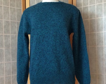 Vintage 1990's Puitan Knit Wool Teal Blue Sweater L