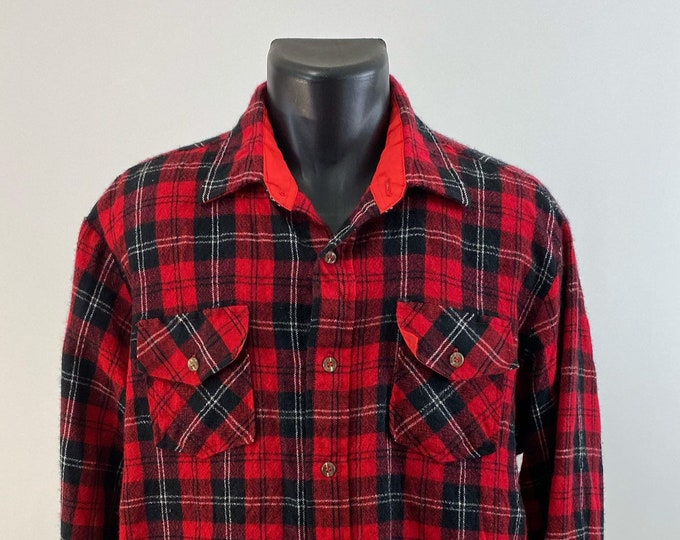 Featured listing image: Vintage 1970s // Wool Flannel // Size Medium // Brewster // Wool o the West // Red // Black // White //
