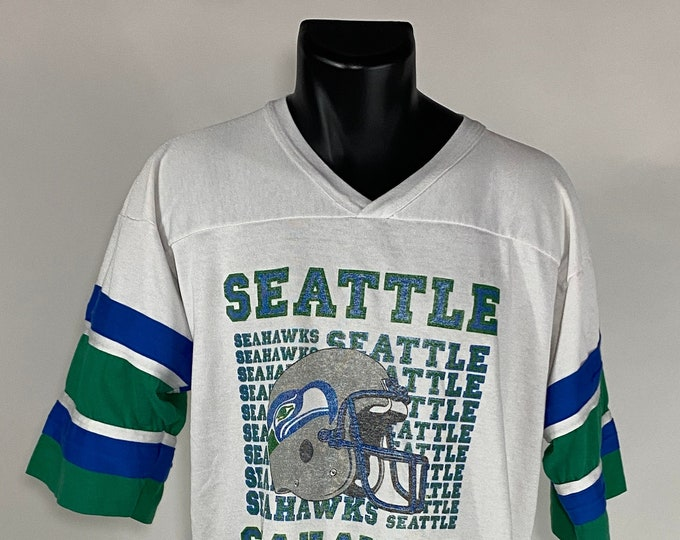 Featured listing image: Vintage 1980's // Seattle Seahawks Jersey Shirt // XL // Garan // White // Green // Blue // Made in the USA