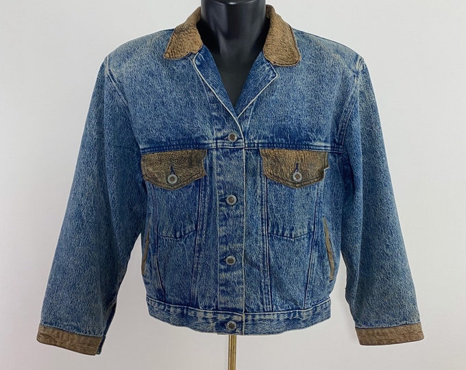 Featured listing image: Vintage 1980's // Disguise Jean Jacket  with Leather Detail// Disguise // Denim //