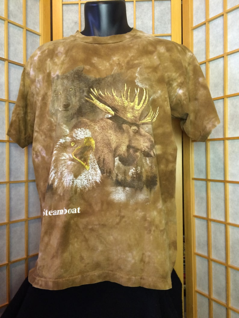 51e9ea50 Vintage 1990's Brown Tie Dye Animal T-shirt Size Large Moose Bald Eagle  Wolf Forest Trees Nature Outside