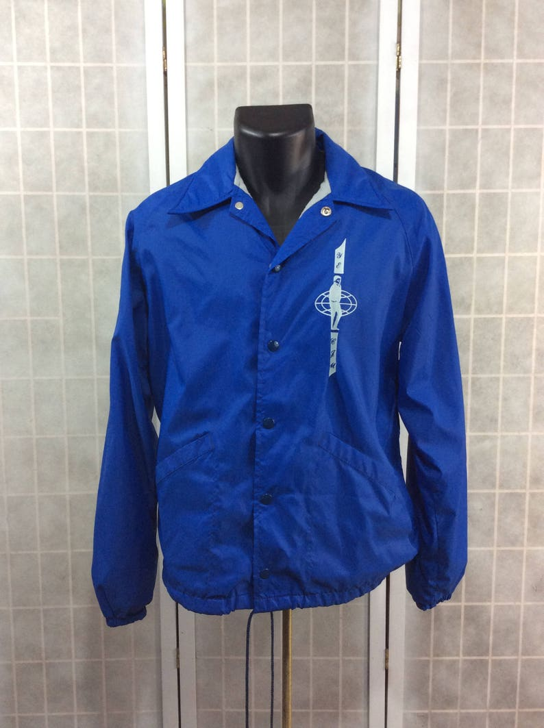 Vintage 1980s-90s Blue Windbreaker Sports Jacket by Swingster World of  Wearables With Custom Screenprint YE CJM Great Condition Unique Rare