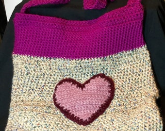 Crochet Tote Bag with Heart!
