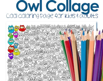 Owls coloring page, pdf download coloring, owls colouring sheet pdf, digital pdf download adult coloring sheet, printable colouring pages