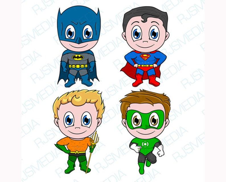 5078bcb0d Kawaii Batman Superman Aquaman Green Lantern Superhero Digital