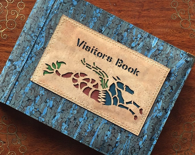 Visitors book- guest book - Vegan blue cork and fennel leather/fabric - A 5 landscape  book - laser cut  appliqué: of a sea monster