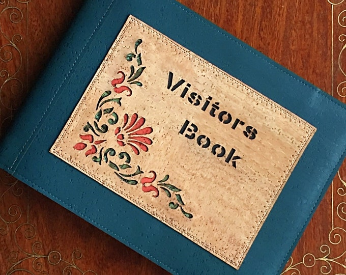 Vegan leather visitors book/ teal cork and fennel fabric guest book/ A5 landscape visitors book/ plain art paper guest book