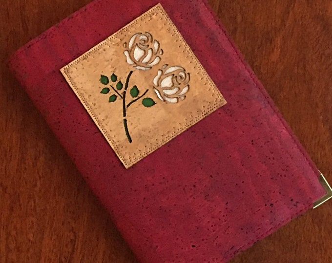 Luxurious wine red vegan cork fabric A6 note book - red cork leather notebook - white roses appliqué - Yorkshire rose