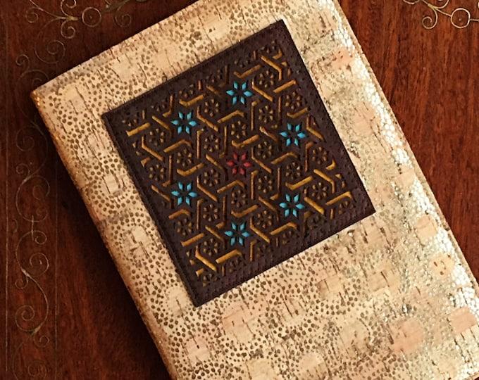 A5 notebook -vegan beige cork fabric with gold dot circles/fawn cork leather - chocolate brown appliqué laser cut into a trellis design