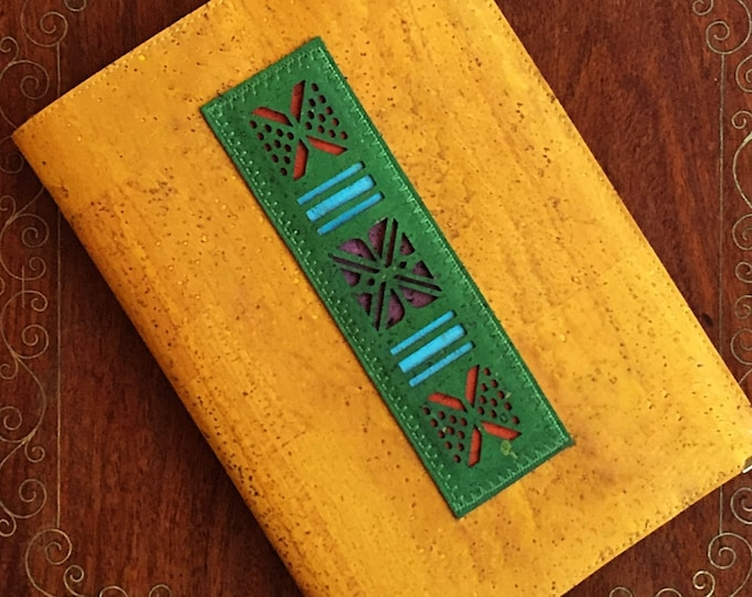 Yellow vegan cork fabric A5 notebook - cork leather journal - diary - planner -  laser cut green appliqué  - African pattern