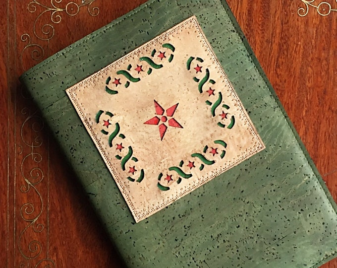 Olive green vegan cork leather A5 notebook/ olive green cork fabric notebook / laser cut star appliqué