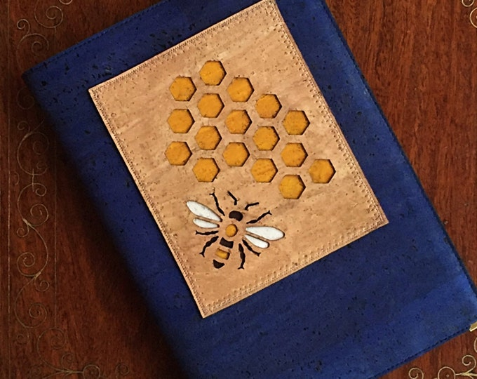 Bee and honeycomb vegan A5 notebook - journal - diary- planner - royal blue  cork fabric - fawn cork leather appliqué - beige appliqué