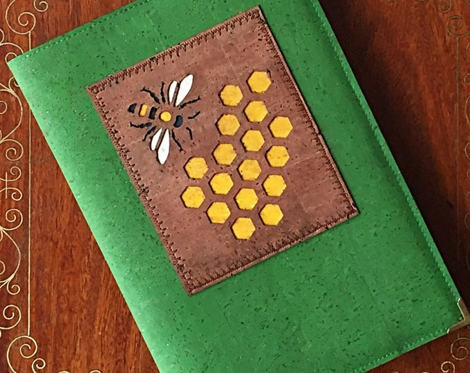 Bee and honeycomb vegan A5 notebook - journal - diary- planner - green cork leather - cork fabric - mid brown appliqué