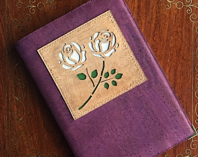 Purple cork fabric - vegan cork leather  - A5 note book - journal - diary - white roses appliqué - Yorkshire rose