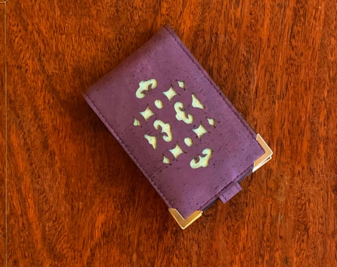 Mini card wallet made from vegan purple cork fabric/ cork leather enhanced with a geometric design backed in aqua cork fabric